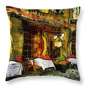 Van Gogh Style Restaurant Throw Pillow