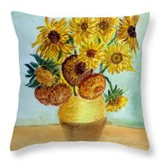 van Gogh Sunflowers in watercolor Throw Pillow