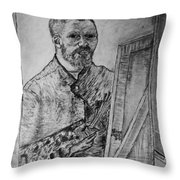 Van Goghs Self Portrait Painting Placed In His Room In Arles France Throw Pillow