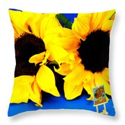 Van Gogh's Sunflower Miniature Art Throw Pillow