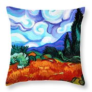 Van Goghs Wheat Field With Cypress Throw Pillow