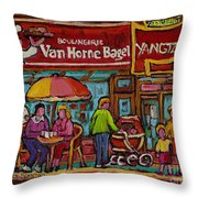 Van Horne Bagel With Yangtze Restaurant Montreal Street Scene Throw Pillow by Carole Spandau