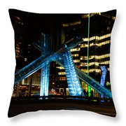 Vancouver - 2010 Olympic Cauldron Lit At Night Throw Pillow