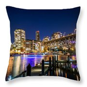 Vancouver At Night Throw Pillow