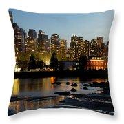 Vancouver Bc City Skyline And Deadman's Island Throw Pillow