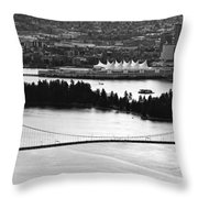 Vancouver Bc City Skyline And Lions Gate Bridge Throw Pillow