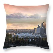 Vancouver Bc City Skyline And Stanley Park Throw Pillow