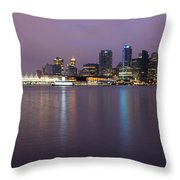 Vancouver Bc City Skyline At Dawn Throw Pillow