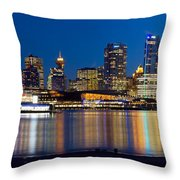 Vancouver Bc City Skyline Reflection Throw Pillow