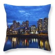 Vancouver Bc City Skyline With Bc Place At Blue Hour Throw Pillow
