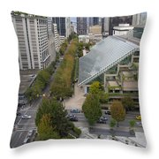 Vancouver Bc Downtown Cityscape View Throw Pillow