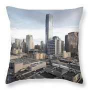 Vancouver Bc Robson Street Cityscape Day Throw Pillow