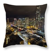 Vancouver Bc Robson Street Cityscape Throw Pillow