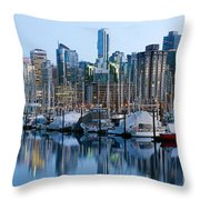 Vancouver Bc Skyline Along False Creek Throw Pillow