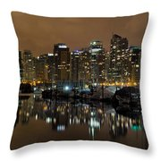 Vancouver Bc Skyline From Stanley Park At Nigh Throw Pillow