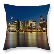 Vancouver Bc Skyline From Stanley Park During Blue Hour Throw Pillow