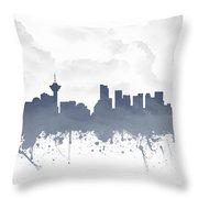 Vancouver British Columbia Skyline - Blue 03 Throw Pillow