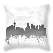Vancouver British Columbia Skyline - Gray 03 Throw Pillow