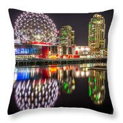 Vancouver Science World In False Creek - By Sabine Edrissi Throw Pillow