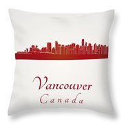 Vancouver Skyline In Red Throw Pillow