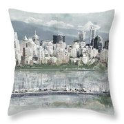 Vancouver Skyline Throw Pillow by Maryam Mughal