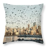 Vancouver Skyline With Crows Throw Pillow
