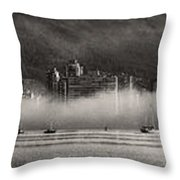 Vancouver Skyline With Fog Over English Bay Throw Pillow