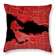 Vancouver Street Map - Vancouver Canada Road Map Art On Color Throw Pillow