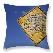 Vandalized Road Sign Many Bullet Holes Throw Pillow