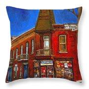 Vanishing Montreal Landmark Depanneur Ste. Emilie And Bourget Montreal Painting By Carole Spandau  Throw Pillow
