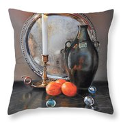 Vanitas Still Life By Candlelight With Clementines 1 Throw Pillow