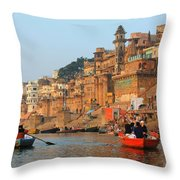 Varanasi From The Ganges River Throw Pillow