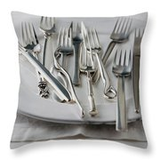 Various Forks On A Plate Throw Pillow