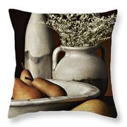 Vase Bowl Pears Throw Pillow