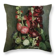 Vase Of Hollyhocks Throw Pillow