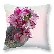 Vase Of Pretty Pink Sweet Peas 2 Throw Pillow