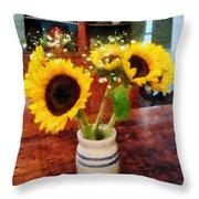 Vase Of Sunflowers Throw Pillow