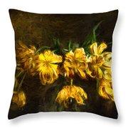 Vase Of Yellow Tulips Throw Pillow