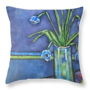 Vase With Blue Flowers And Cherries Throw Pillow