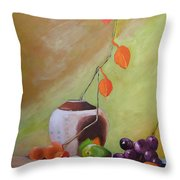Vase With Orange Leaves And Fruit Throw Pillow