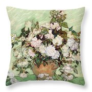 Vase With Pink Roses Throw Pillow