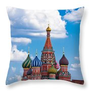 Vasily The Blessed Cathedral And The Red Square Of Moscow - Featured 3 Throw Pillow