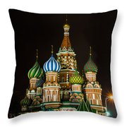 Vasily The Blessed Cathedral At Night - Featured 3 Throw Pillow