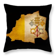 Vatican City Grunge Map Outline With Flag Throw Pillow