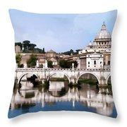 Vatican City Seen From Tiber River Throw Pillow