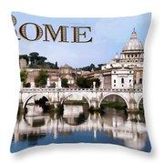 Vatican City Seen From Tiber River Text  Rome Throw Pillow