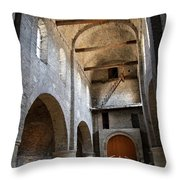 Vaulted Roof St Philibert - Tournus Throw Pillow