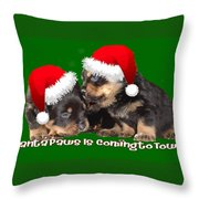 Vector Santa Paws Is Coming To Town Christmas Greeting Throw Pillow