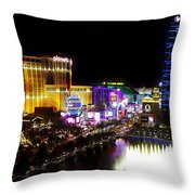 Vegas At Night Throw Pillow by Barbara Chichester