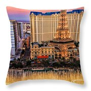 Vegas Water Show Throw Pillow